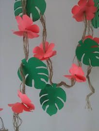 Garland 8 Feet Tropical Flower Garland Safari Jungle Garland Store Window Decor ... #garlandofflowers
