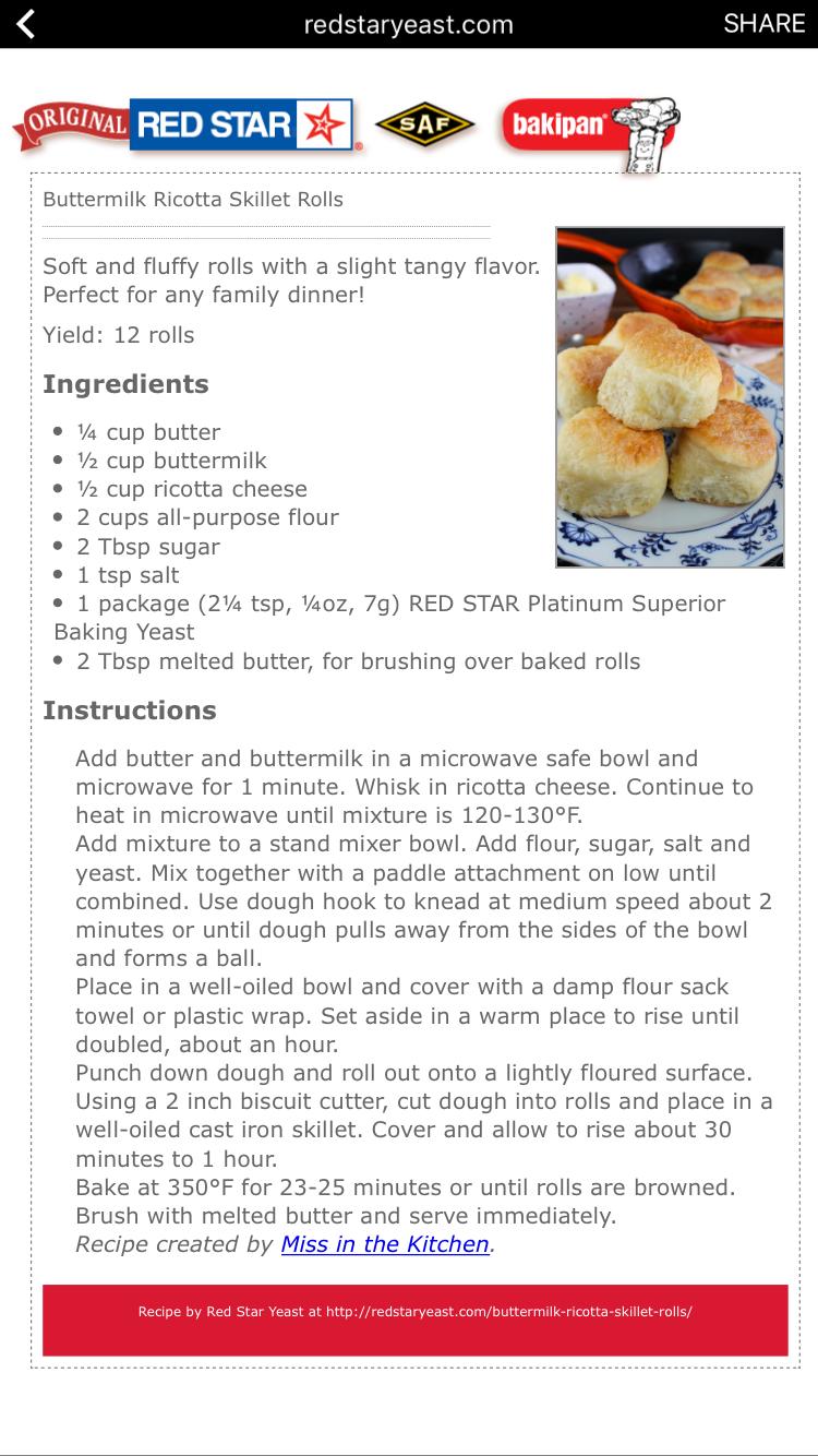 Buttermilk Ricotta Skillet Rolls Family Dinner Ricotta Cheese Recipes
