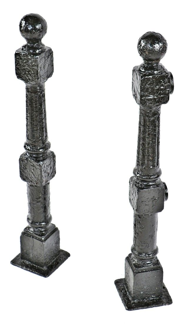 Two Matching All Original Salvaged Chicago Freestanding Late 19th Century Black Enameled Cast Iron Residential New Century Black Enameled Cast Iron Newel Posts