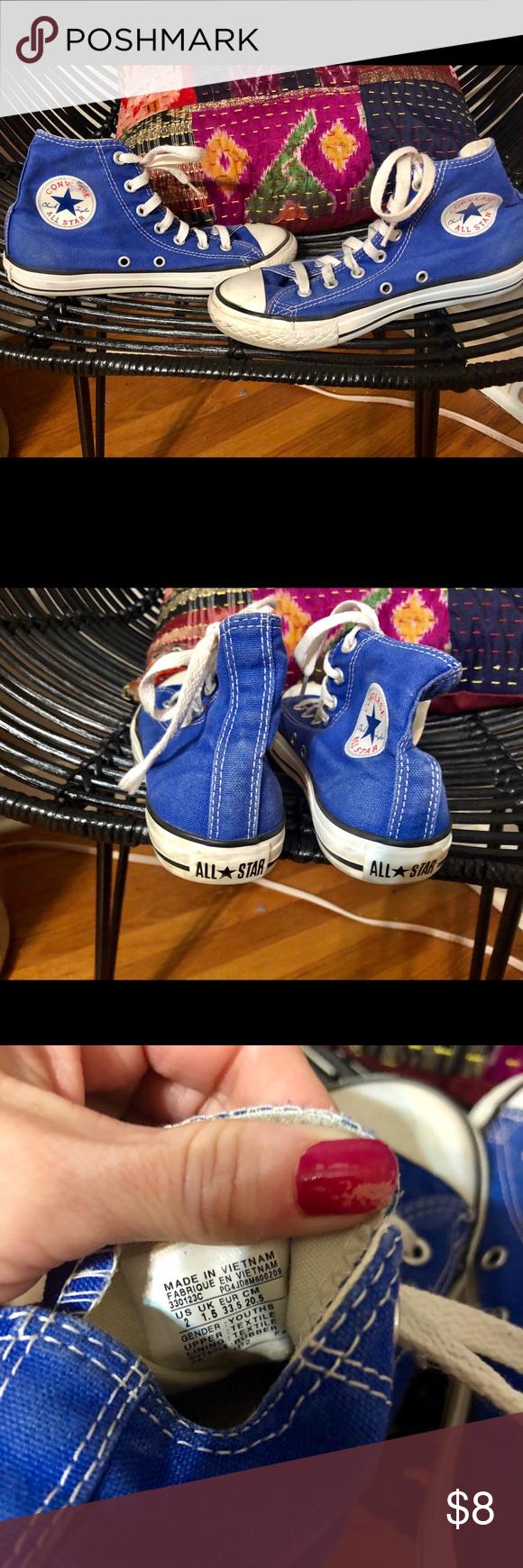 Blue converse high tops Boys blue size