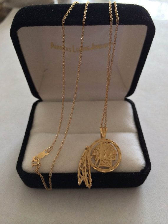 1e3cf632 This would be your new favorite necklace. #Redskins gold pendant ...