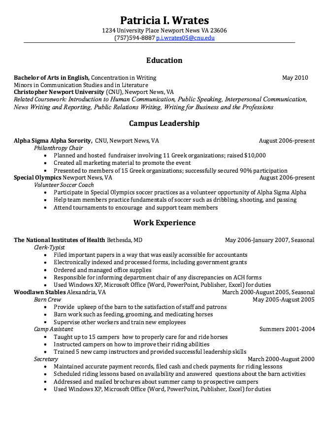 clerk typist resume sample