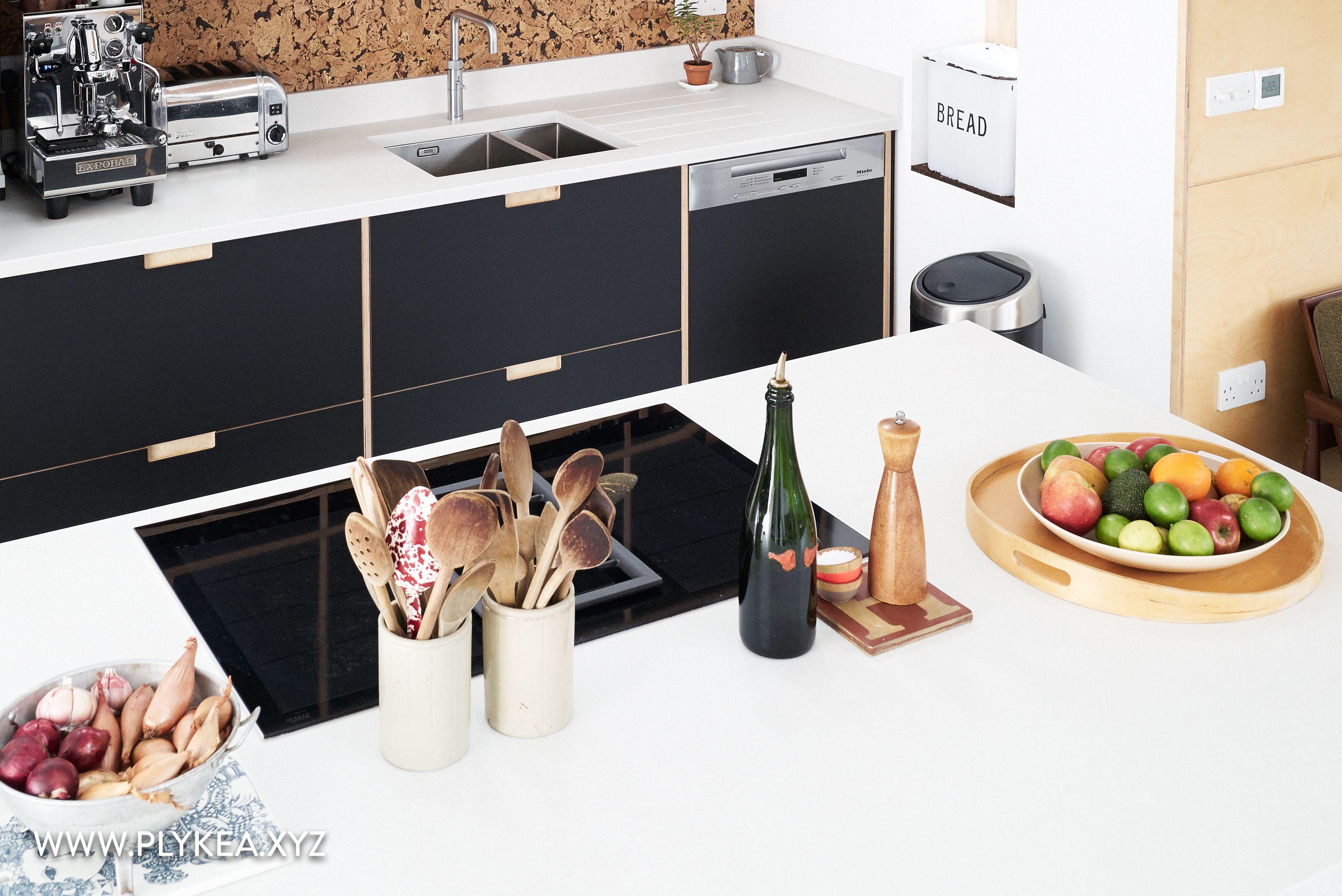 whiterock rd 04 Fenix faced plywood kitchen using IKEA