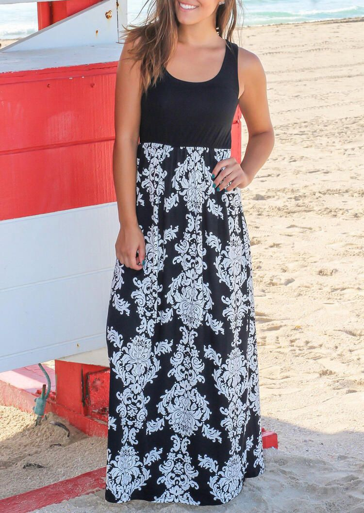 Printed Splicing Sleeveless Maxi Dress Maxi Dresses #blackmaxidress