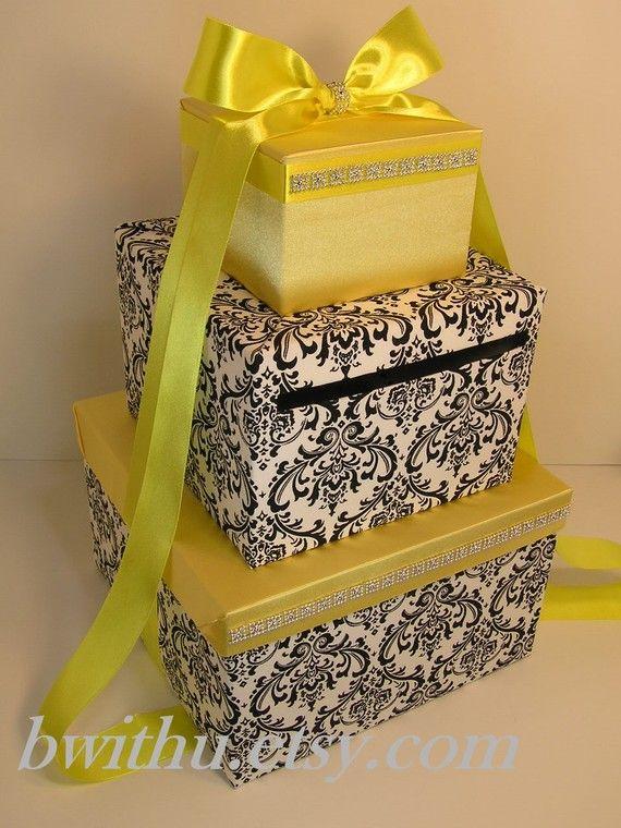 Wedding Card Box Orange and Yellow Gift Card Box Money Bo
