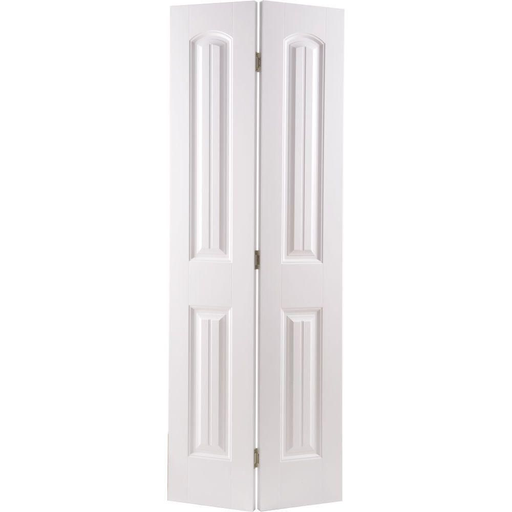 Masonite 30 In X 80 In Cheyenne 2 Panel Camber Top Primed White Hollow Core Smooth Composite Bi Fold Interior Door 97062 The Home Depot Bifold Door Hardware Bifold Doors Bifold Closet Doors