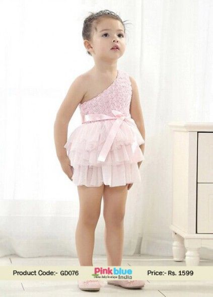 One Shoulder Pretty Pink Short Baby Party Dress | Baby girl