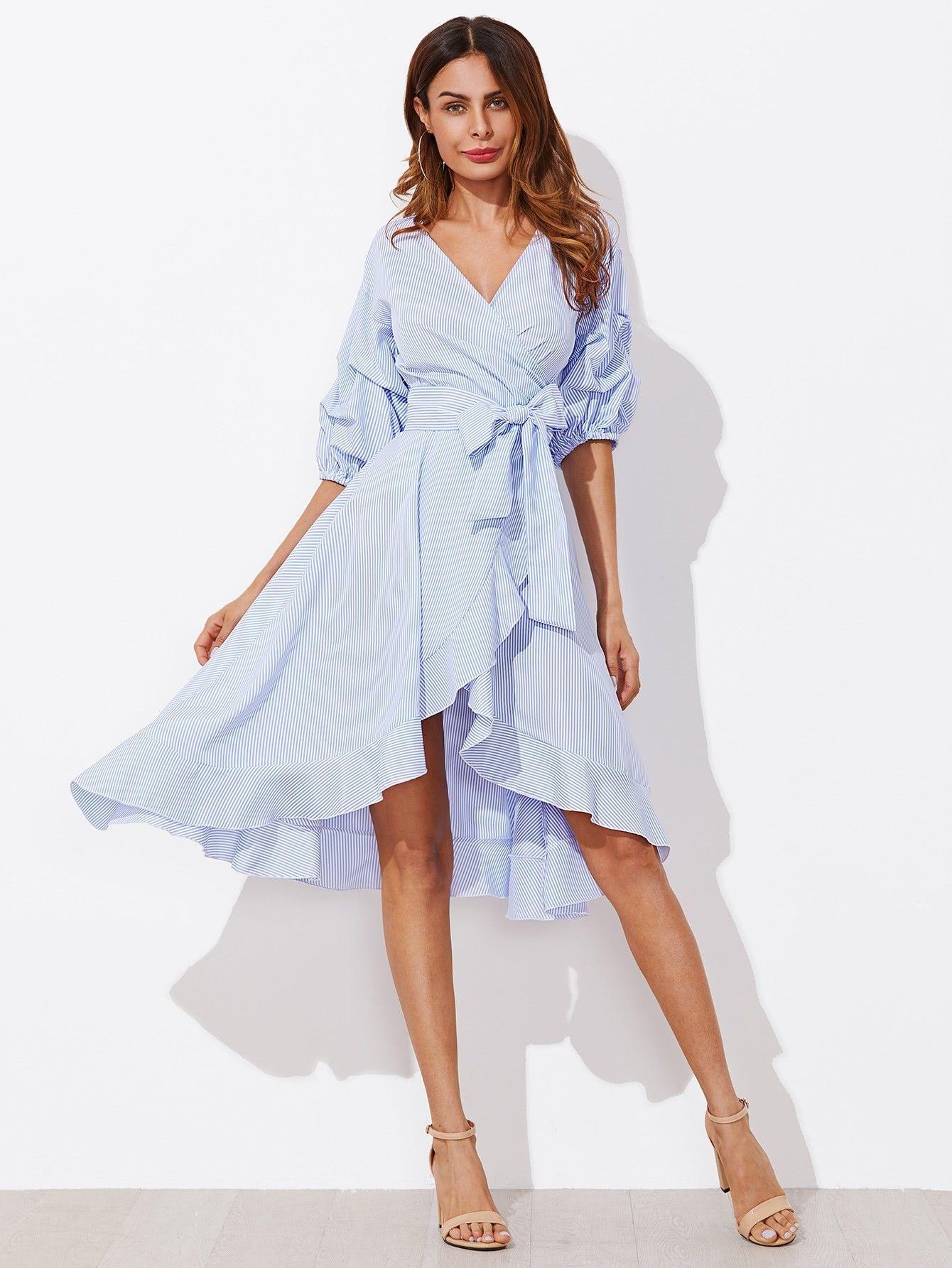 Pin By Maabena Badwe On Nab In 2020 Pinstripe Dress Ruffle Hem Dress Wrap Dress [ 1785 x 1340 Pixel ]