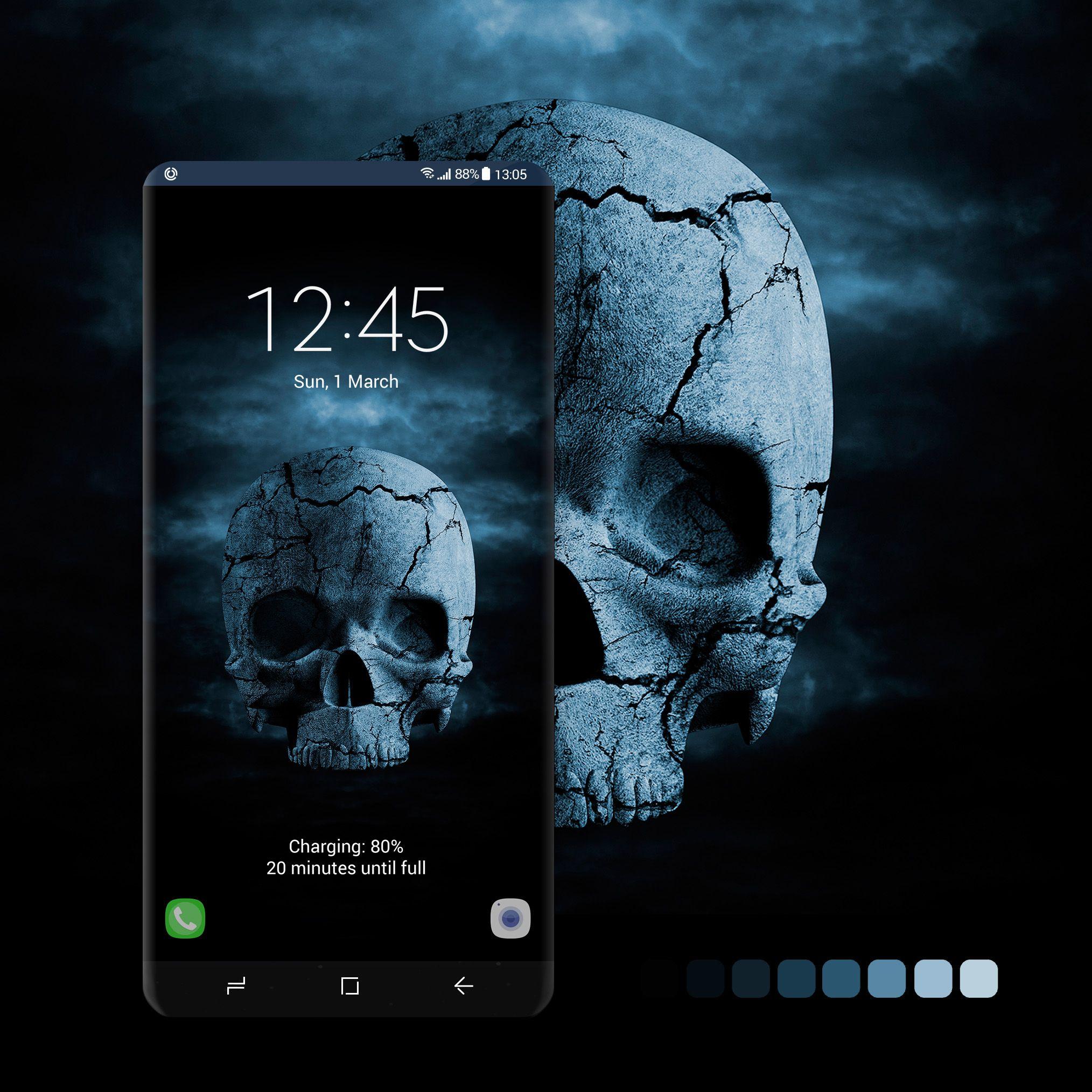 Blue Spooky Skull Wall Paper Phone Samsung Galaxy Wallpaper Skull Wallpaper