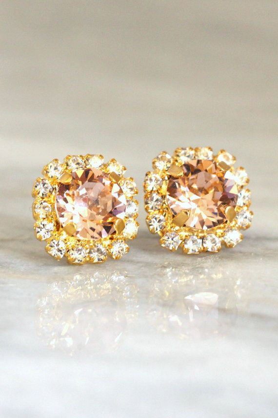 Blush EarringsBlush Stud Earrings Blush Pink Swarovski by iloniti  #earrings, #blush, #jewelry, #bridal, #earrings, #studs, #accessories, #vintage