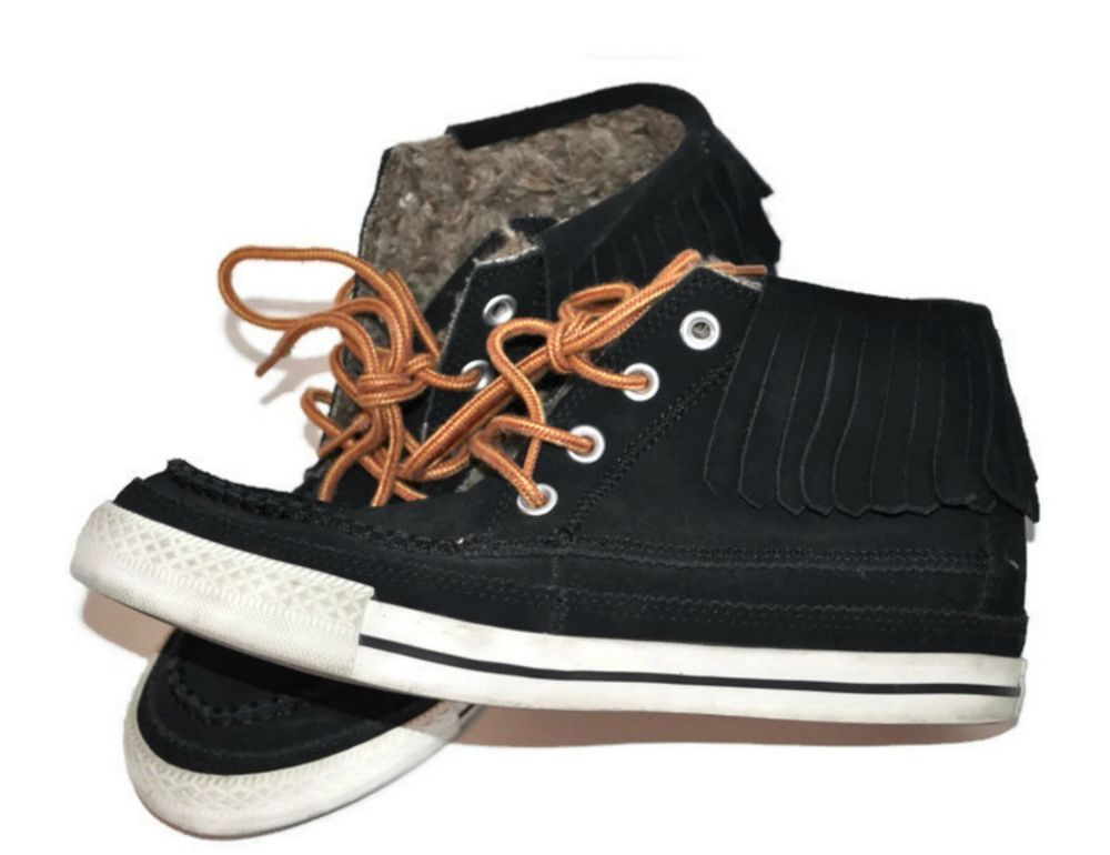f96ecb109590 Converse Chuck Taylor All Star Suede High Tops Womens 8.5 Black Moccasin  Fringe  Converse  FashionSneakers