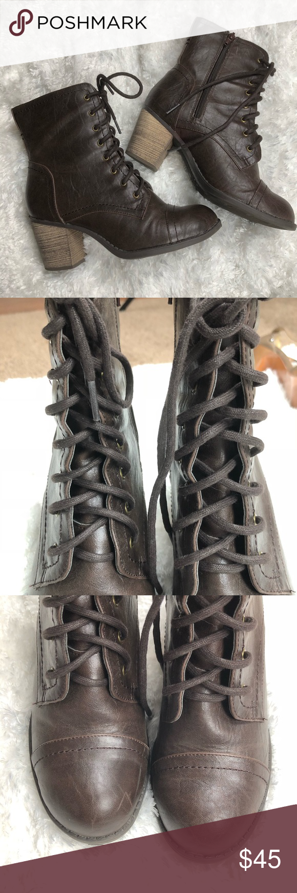 93841caec1 Diba | Heeled combat boots brown size 7.5 •Good condition, flaws shown in  pictures •Lace-up combat boots •3 inch heel Diba Shoes Heeled Boots