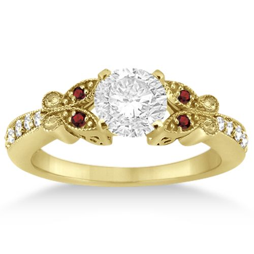 Butterfly Diamond  Garnet Engagement Ring 14k Yellow Gold (0.20ct)-Allurez.com