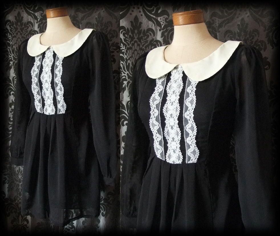 Gothic black white lace delirium peter pan tea dress victorian