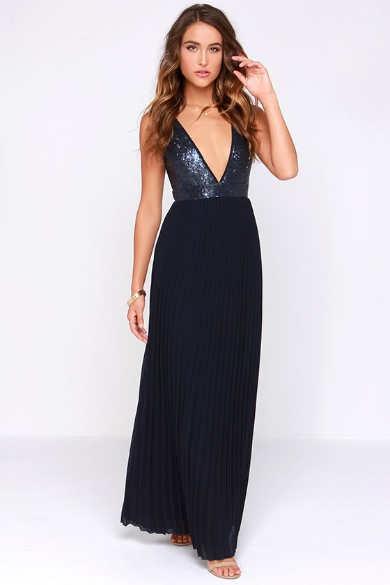 1cdb2ddf053a LULUS Exclusive Ciao, Ciao Bella Navy Blue Sequin Maxi Dress at Lulus.com!