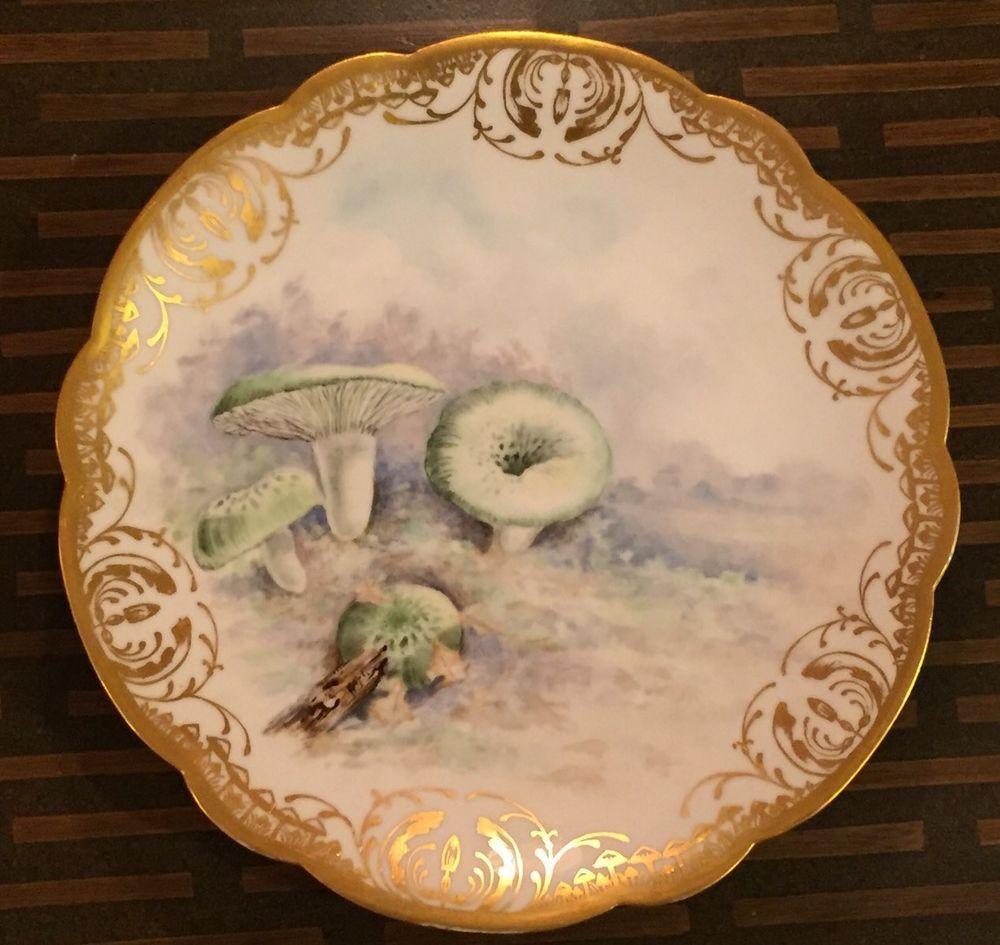 Limoges D C Hand Painted Mushroom Plate