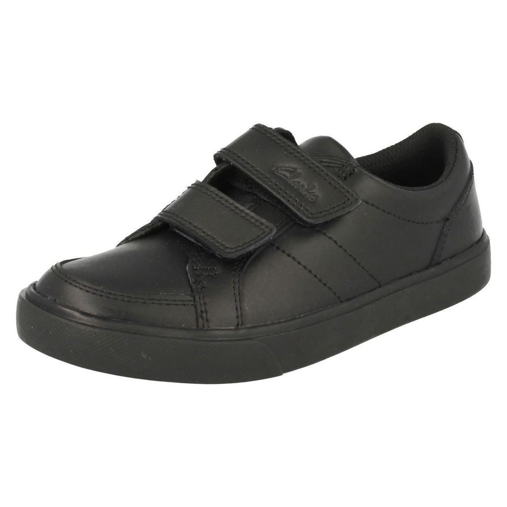 F fit black coated leather School shoe