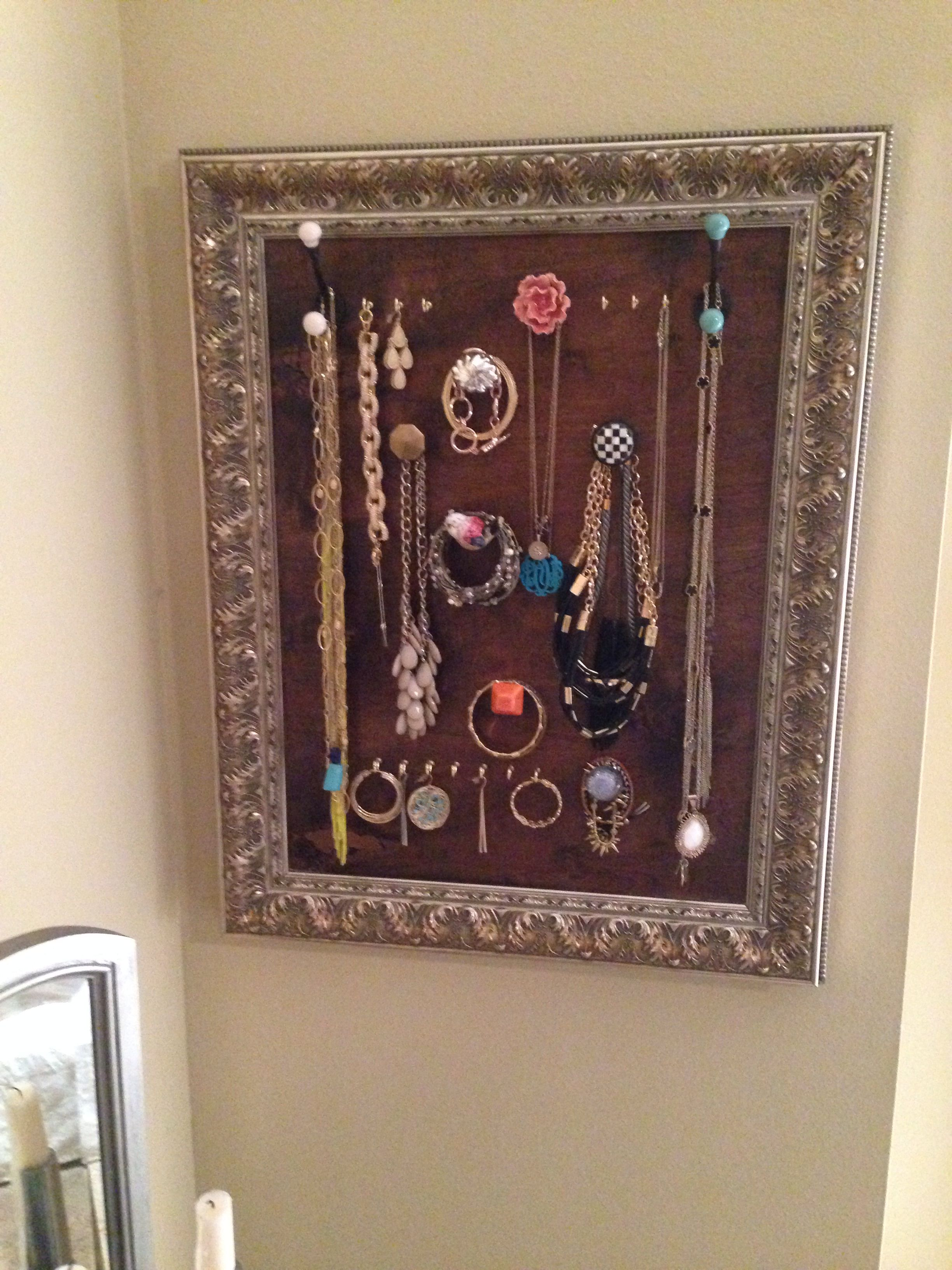 Homemade Picture Frame Jewelry Rack | Picture Frame Jewelry Rack ...
