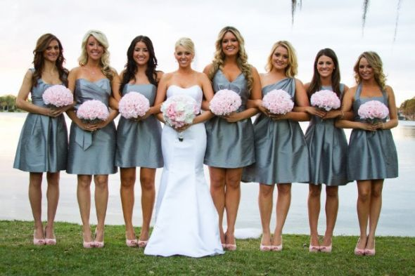 Blue Grey Bridesmaid Dresses
