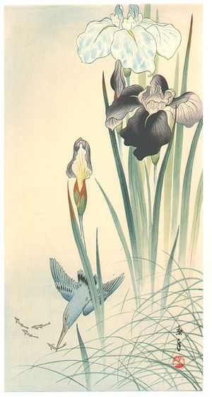 Imao Keinen Title:Kingfisher and Irises Date:Not dated (ca. 1930s).