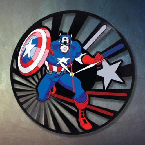 Captain America Avengers Art Home Bedroom Decor Wall Clock Marvel