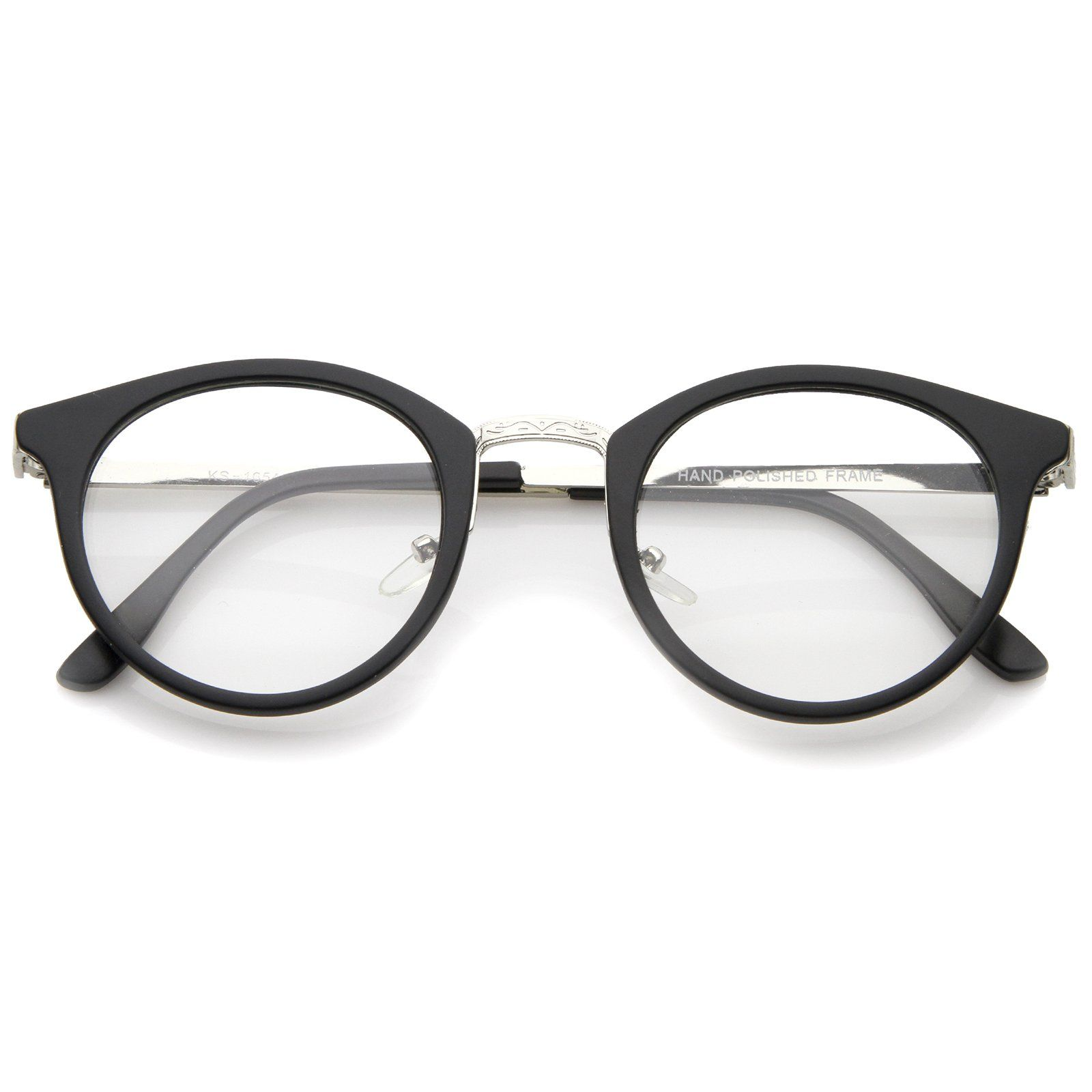 708db985fd0 Classic Engraved Bridge   Temple Clear Lens Matte Horn Rimmed Round Glasses  47mm