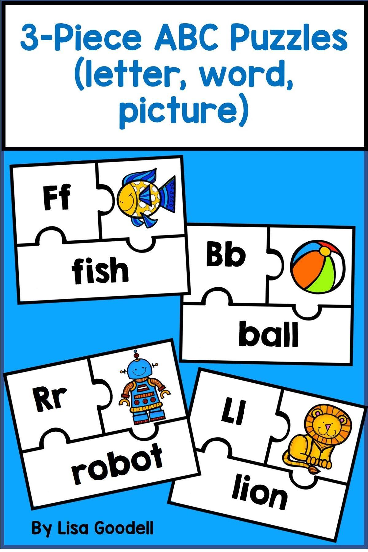 3Piece ABC Puzzles (letter, picture, word) Lettering
