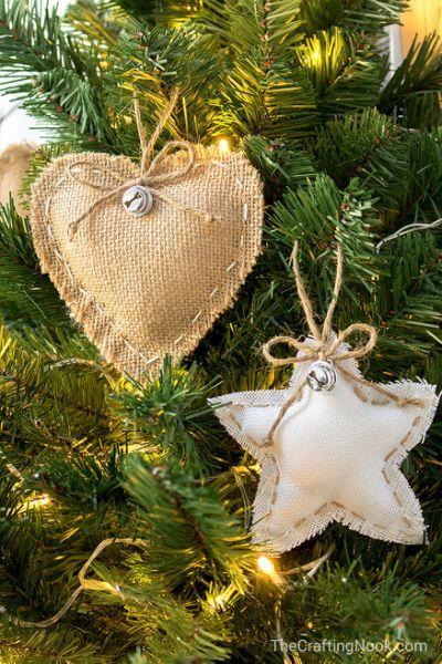 DIY Rustic Burlap Christmas Ornaments Christmas! Pinterest