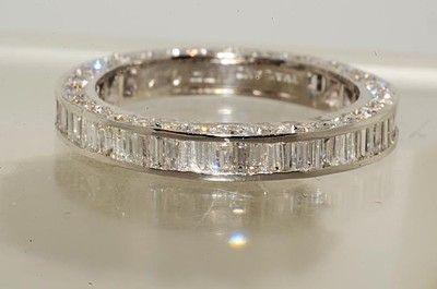 $6500 1.83CT BAGUETTE & ROUND CUT DIAMOND ETERNITY WEDDING BAND VS SIZE 4