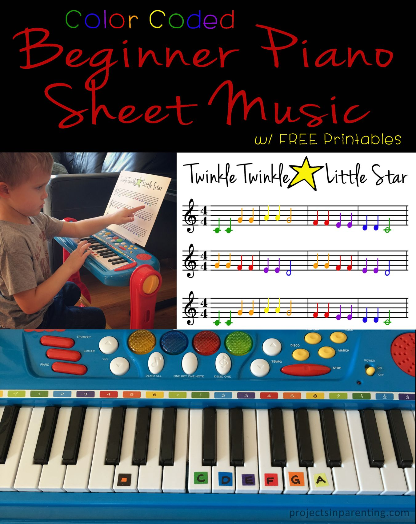 Baa Baa Black Sheep Color Coded Beginner Piano Sheet