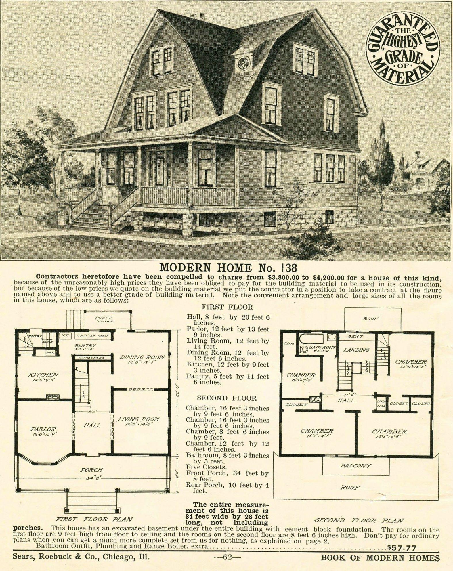 Sears No 138 1908 Version Dream House Plans Vintage House Plans House Plans Farmhouse