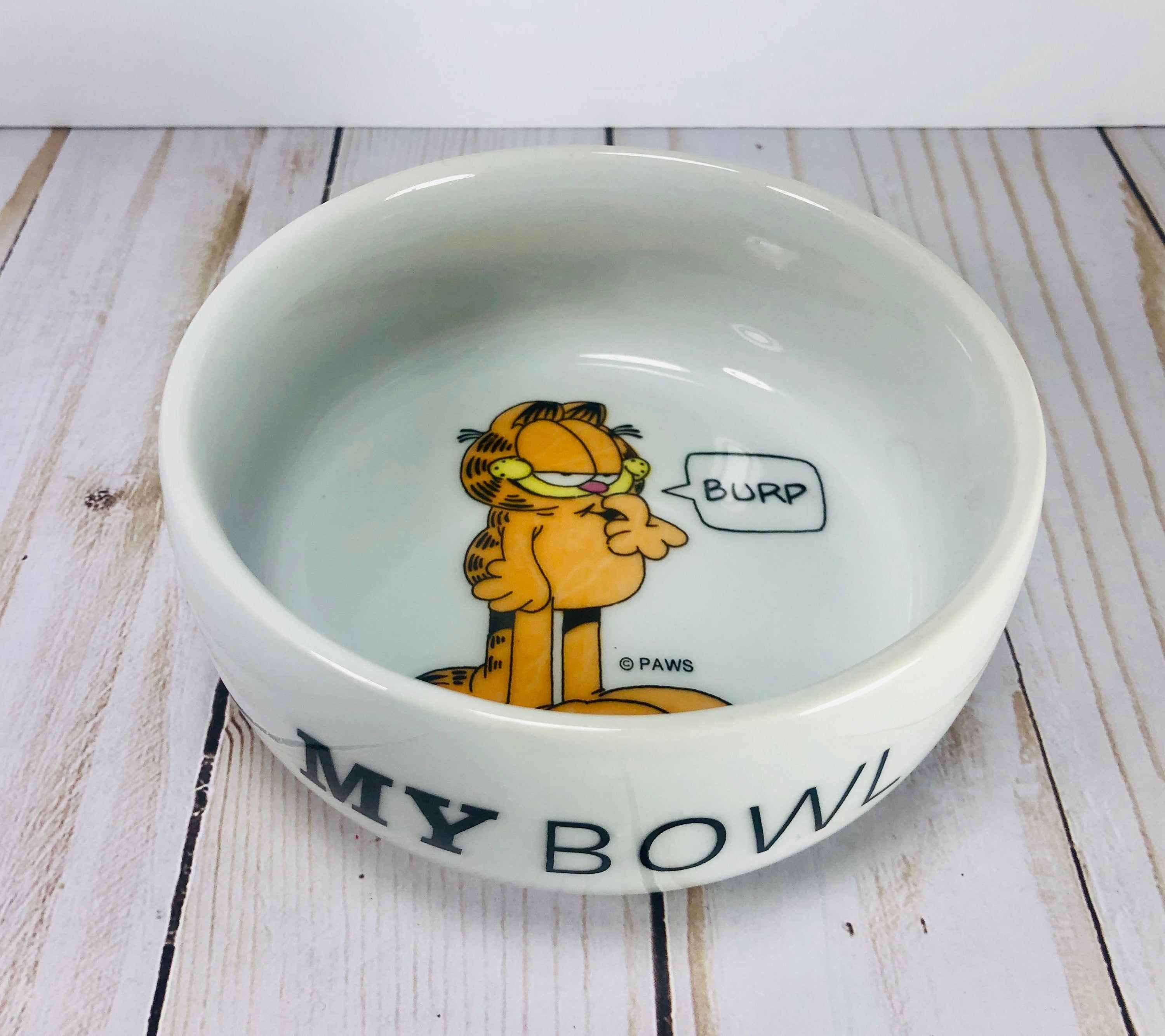 Vtg Garfield My Bowl Pet Food Dish PAWS Ceramic Pet food
