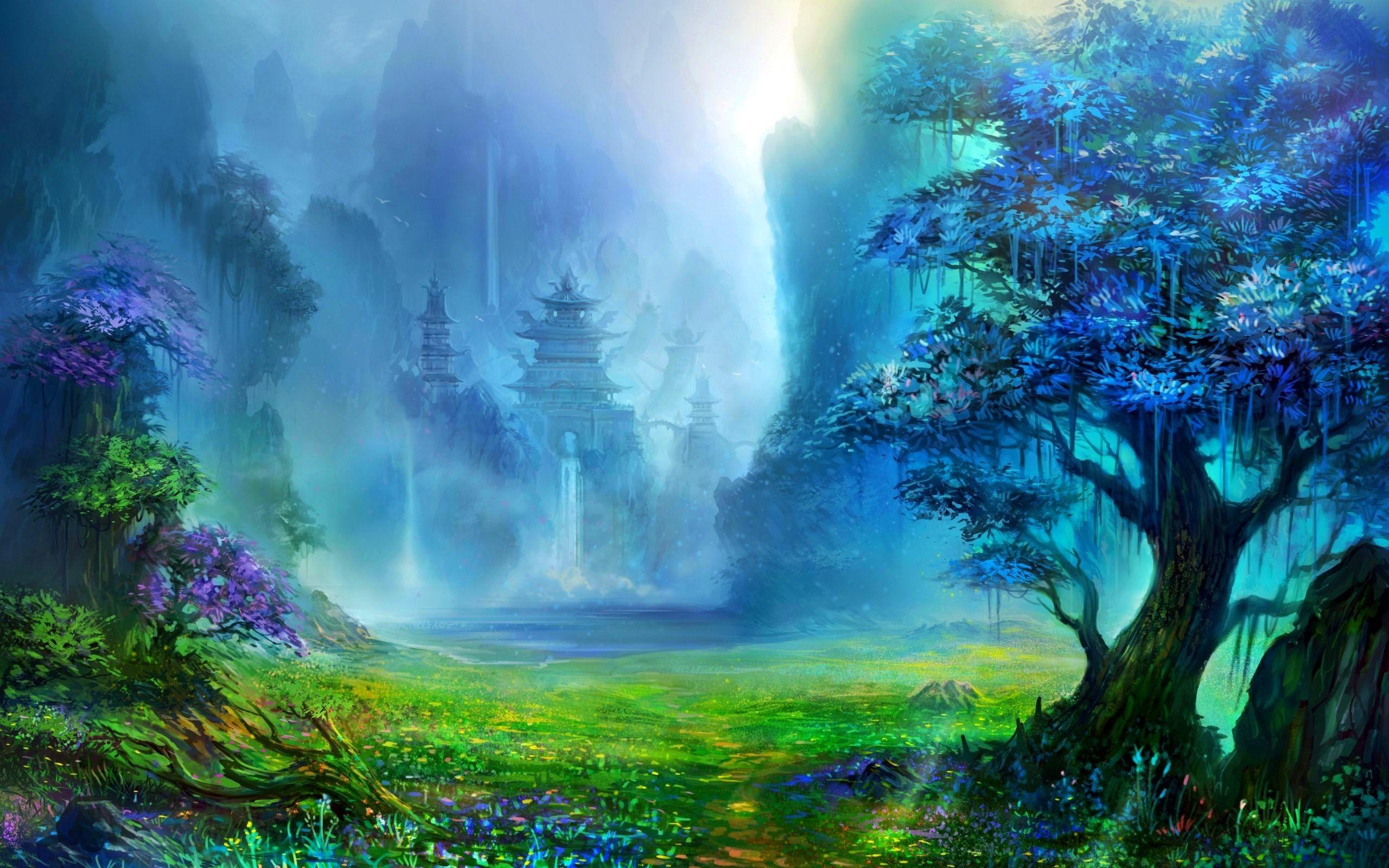 Fantasy Art Pagoda Asian Architecture Trees Waterfall Artwork Mountain Digital Art Nature L Fantasy Landscape Fantasy Art Landscapes Waterfall Artwork