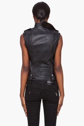 PIERRE BALMAIN Black Leather Biker Vest
