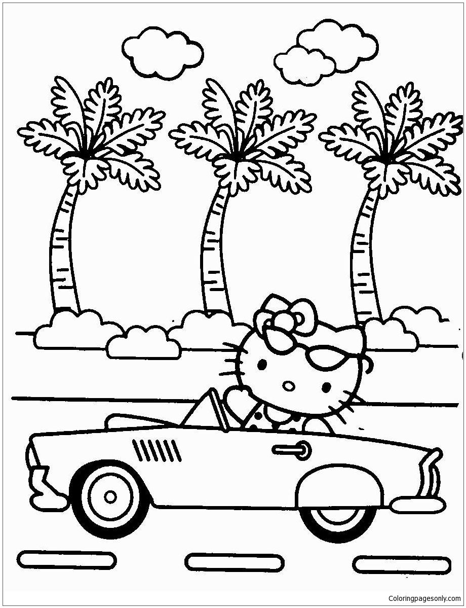 Hello Kitty Riding A Car Coloring Page Hello Kitty Colouring