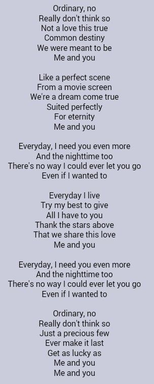 Lyrics to and you and i