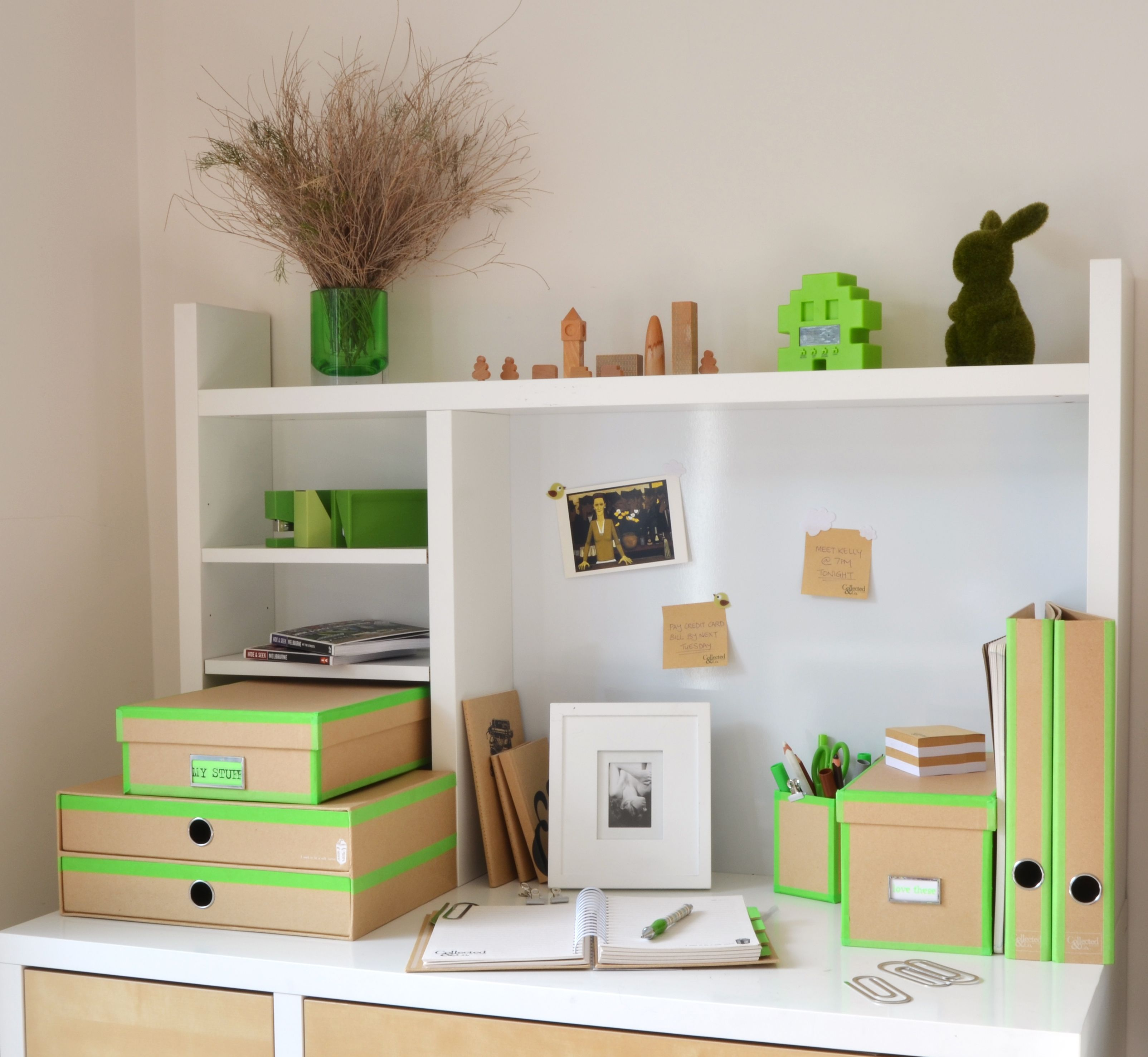 Collected & Co. Natural range; environmentally friendly and easy to make funky with fluoro paper tape.