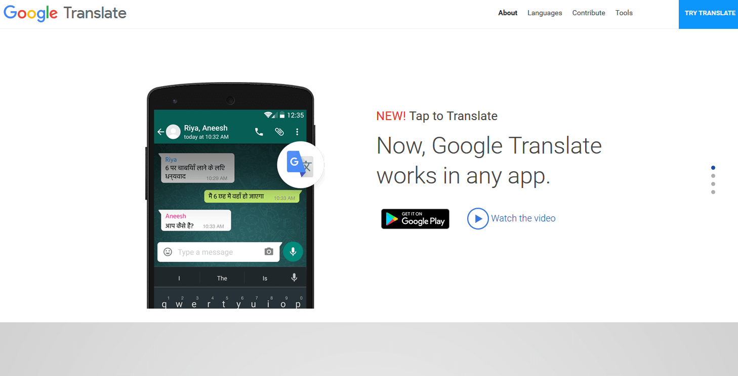Website of Google Translate Android apps, App, Web analytics