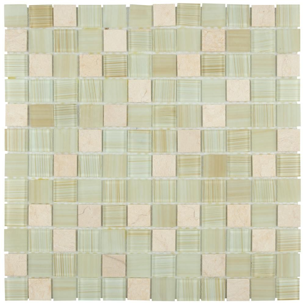 Merola Tile Spectrum Square Macadamia 11 3 4 In X 11 3 4 In X 4 Mm Glass And Stone Mosaic Tile Gshssqmc Stone Mosaic Mosaic Tiles Stone Mosaic Tile
