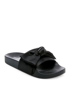 bonito diseño nuevos productos para elige auténtico Steve Madden Silky Bow Slide Sandal in 2020   Satin shoes, Black ...