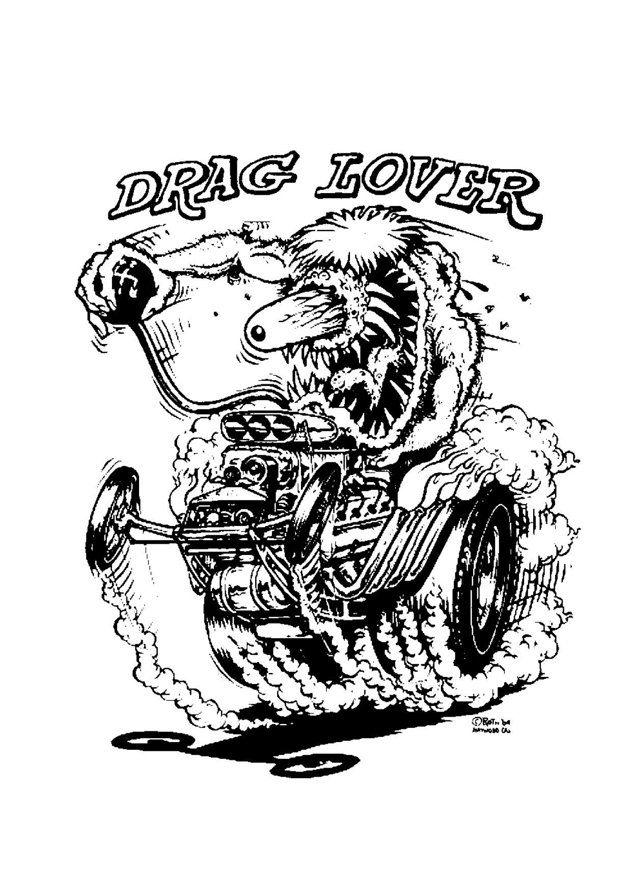Drag Lover Cars coloring pages, Coloring book art, Ed