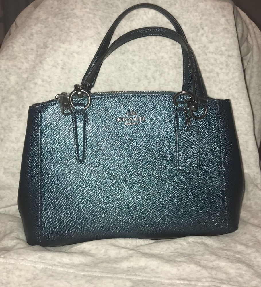 bd08ff995 COACH F23337 MINI CHRISTIE CARRYALL METALLIC CROSSGRAIN LEATHER DARK TEAL  NWT #fashion #clothing #shoes #accessories #womensbagshandbags (ebay link)