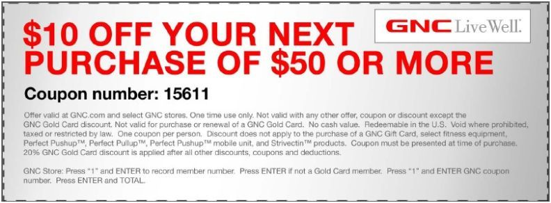 photo relating to Gnc Printable Coupons 10 Off 50 referred to as Preserve $10 at GNC! #coupon CheckPoints Bargains! Printable