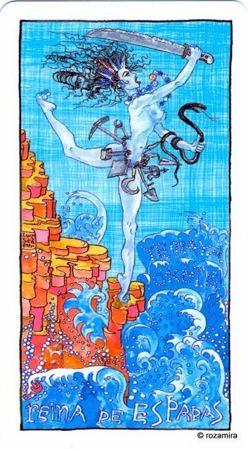 Queen of Swords - Tarot Lukumi by Caelum Rainieri, Ivory Andersen, Raphael Montoliu