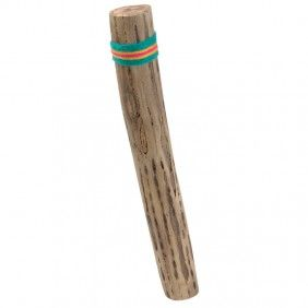 """Child-Size Chilean Rainstick  South American folk instrument - ages 3+  Tilt it a little and shake ever so gently — it whispers like a light rain. Tilt it a lot — it clatters like a downpour! The variety of sounds makes this a fun rhythm instrument. Inside the cylinder, tiny pebbles cascade over cactus spines, which have been hammered into the hollow Capado cactus; varnished and sealed. Handcrafted in Chile. 14"""" long x 2"""" dia."""