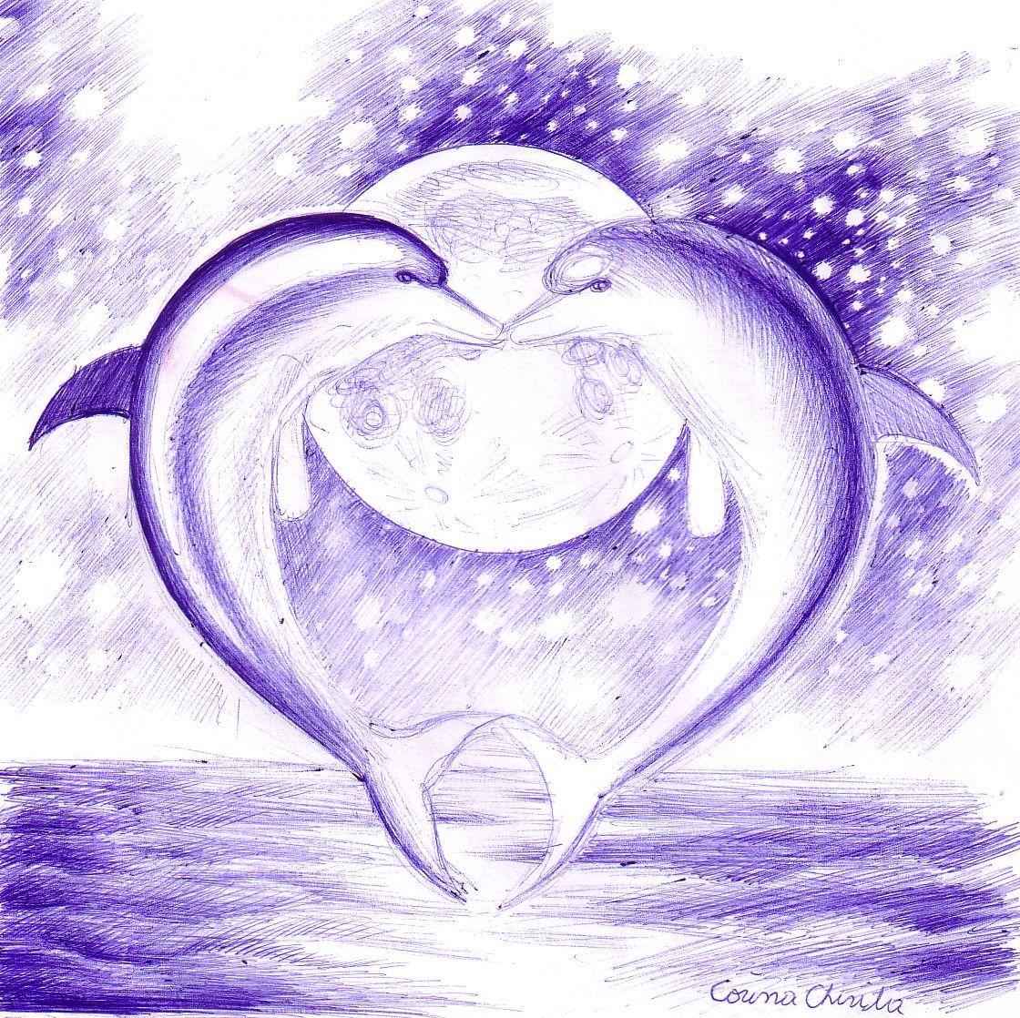 dolphin heart | Tattoo | Dolphin drawing, Dolphin art ...