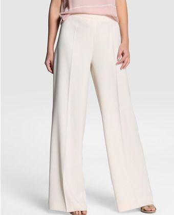 c782a0631547c Pantalón ancho de mujer Amitié en blanco Pantalones Elegantes