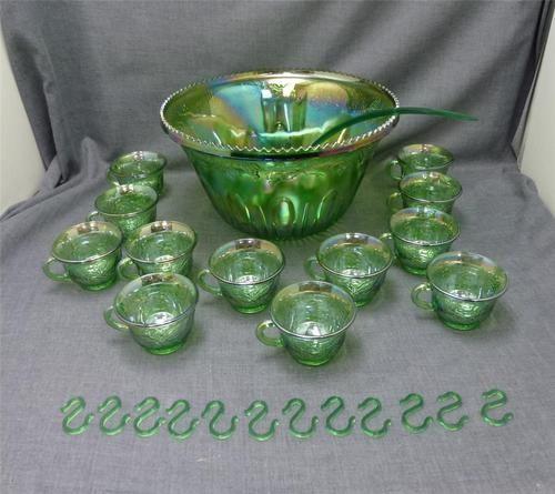 Vtg Indiana Green Carnival Glass Harvest Grape Punch Bowl 12 Cups 12 Hooks Ladle | eBay-soudertoncareandshare