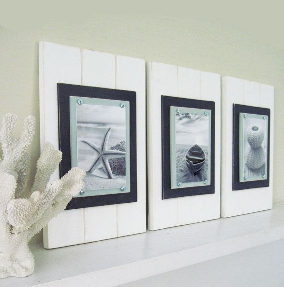 Set of 3 White Plank Frames for 5X7 Photos in White, Sea Foam and ...