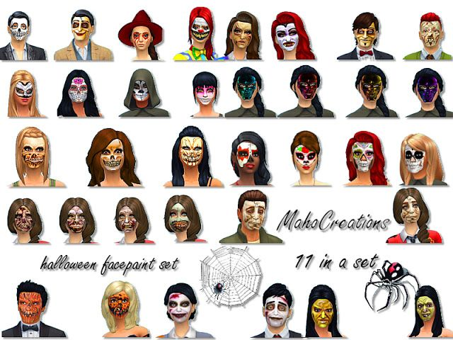 Sims 4 CC's - The Best: Facepaint Halloween Set by MahoCreations